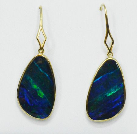 14ct Yellow Gold Doublet Opal Drop Earrings