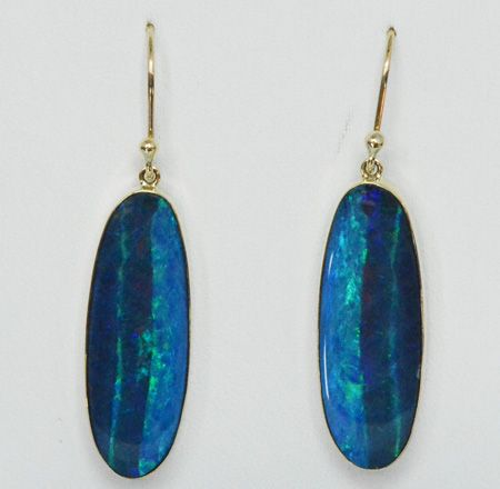 9ct Yellow Gold Doublet Opal Earrings