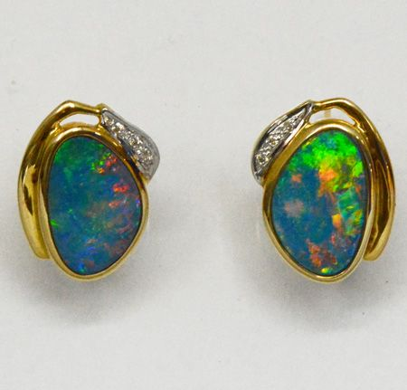 Diamond Set 14ct Yellow Gold Doublet Opal Earrings