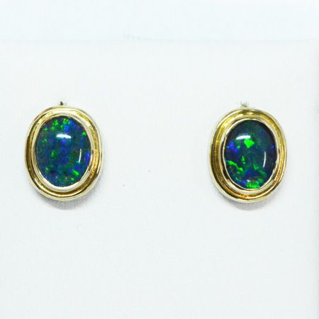 9ct Yellow Gold Triplet Opal Stud Earrings