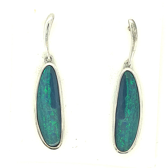Sterling Silver Doublet Opal Drop Earrings (23mmx7mm)