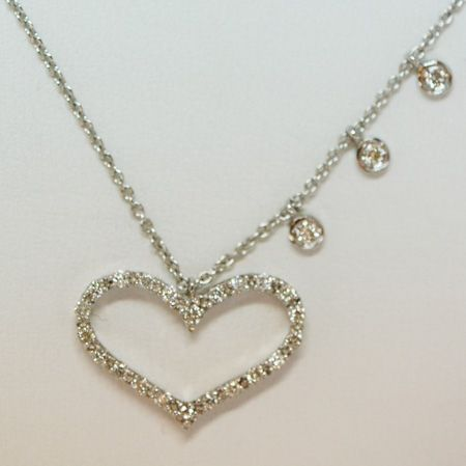 14ct white gold HEART diamond necklace