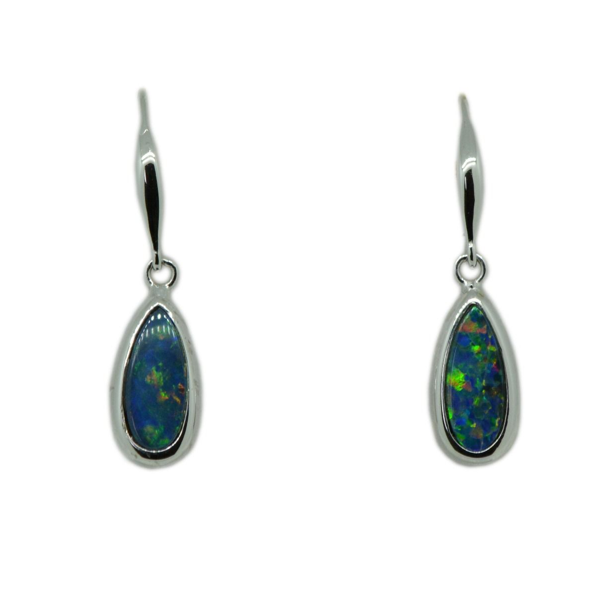 14ct White Gold Bezel Doublet Opal Earrings
