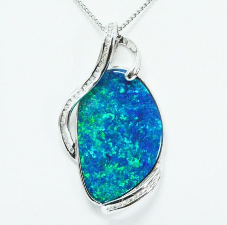 18ct White Gold Doublet Opal Pendant Set With Diamonds
