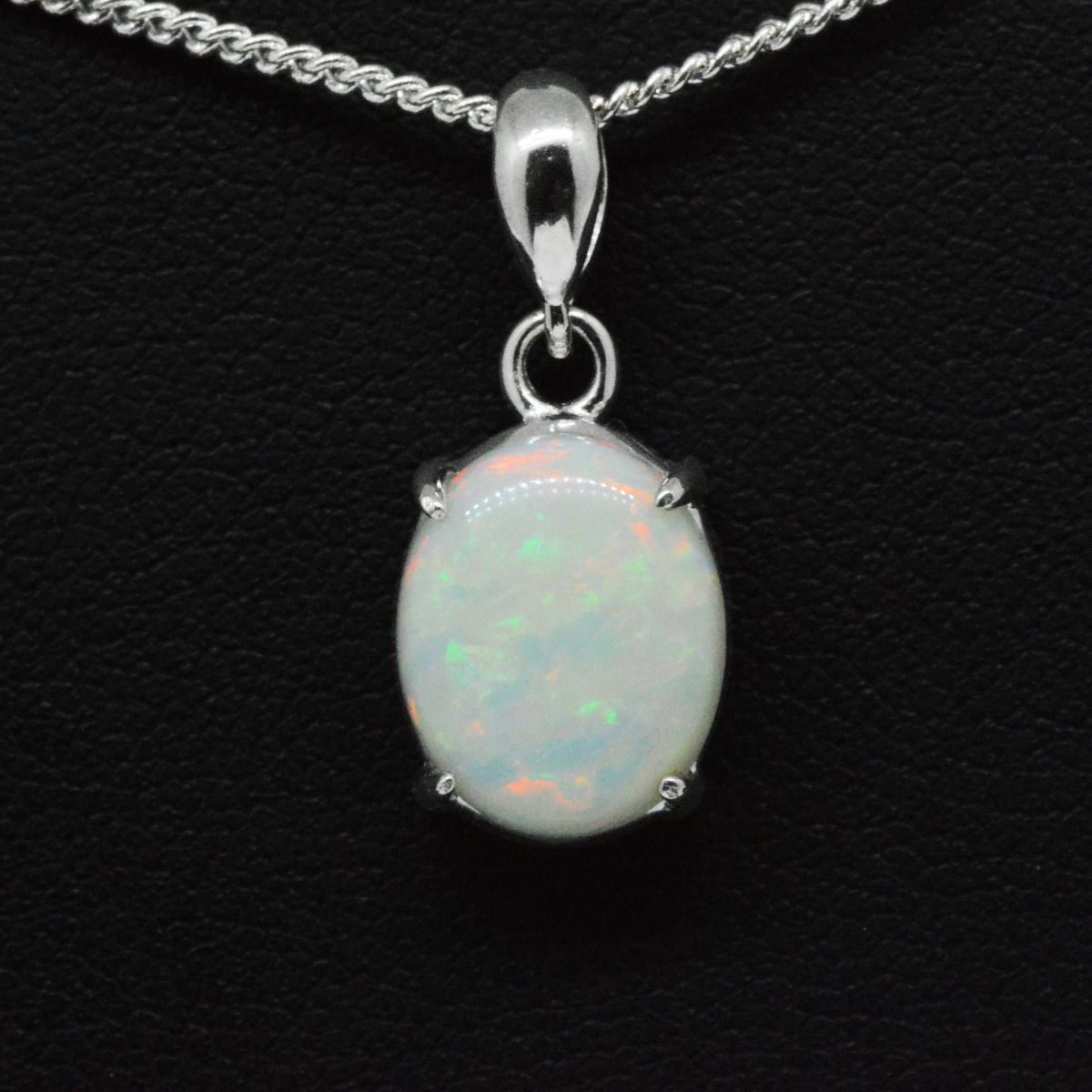 Sterling Silver Solid Opal Pendant 11mmx9mm