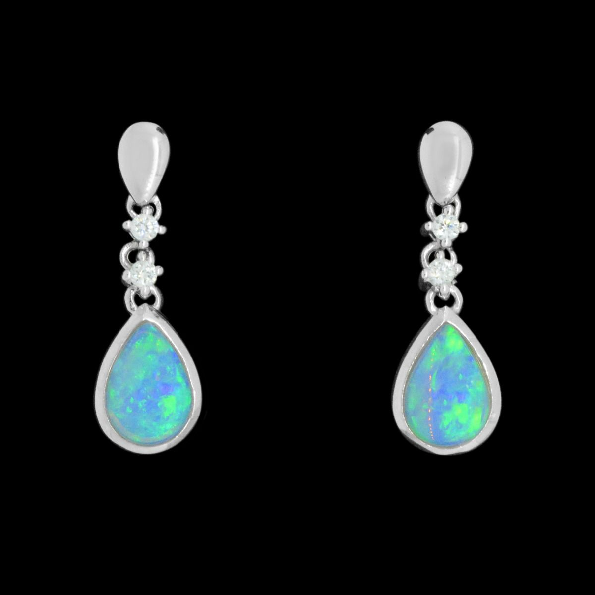 18ct White Gold Solid Opal Earrings Set with Diamonds
