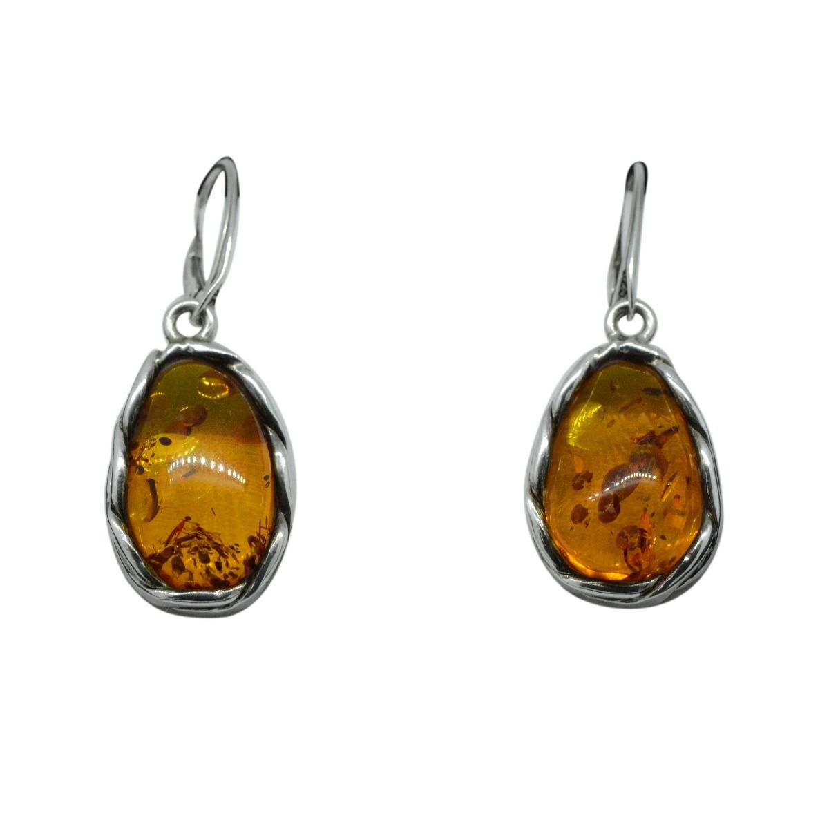 Sterling Silver Amber Antique Earrings