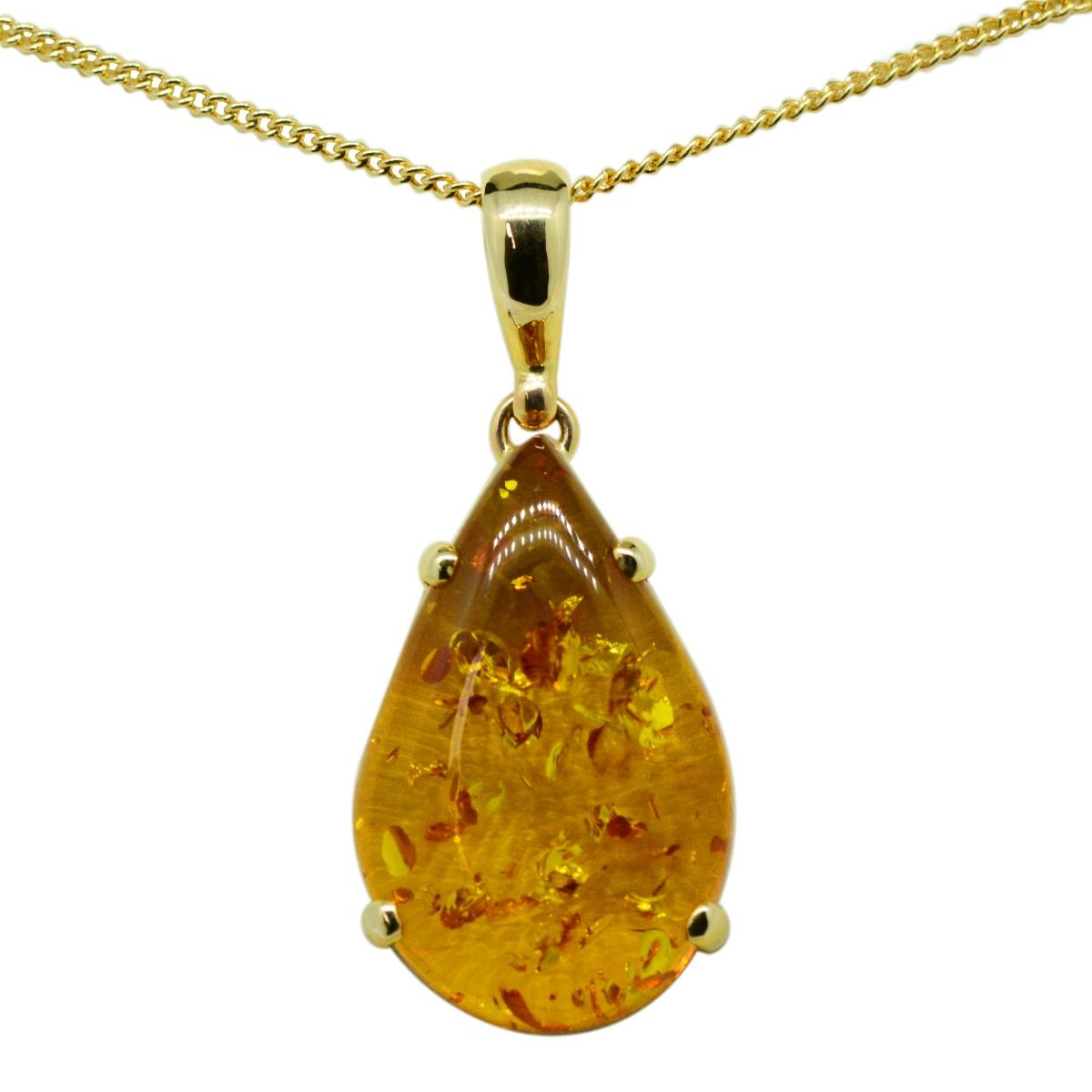 Yellow Gold Drop Amber Pendant