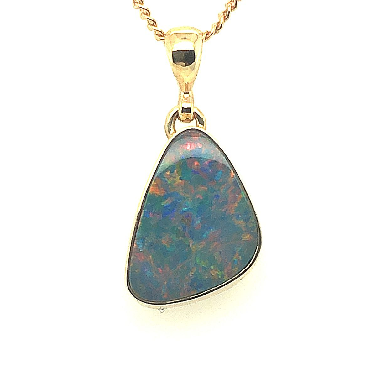9ct Yellow Gold Doublet Opal Pendant (15mmx11mm)