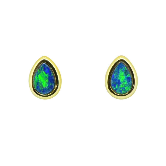 14ct Yellow Gold Doublet Drop Earrings