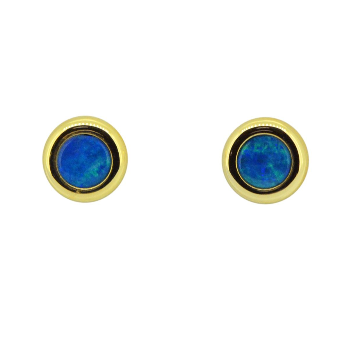 14ct Yellow Gold Circle Doublet Opal Earrings