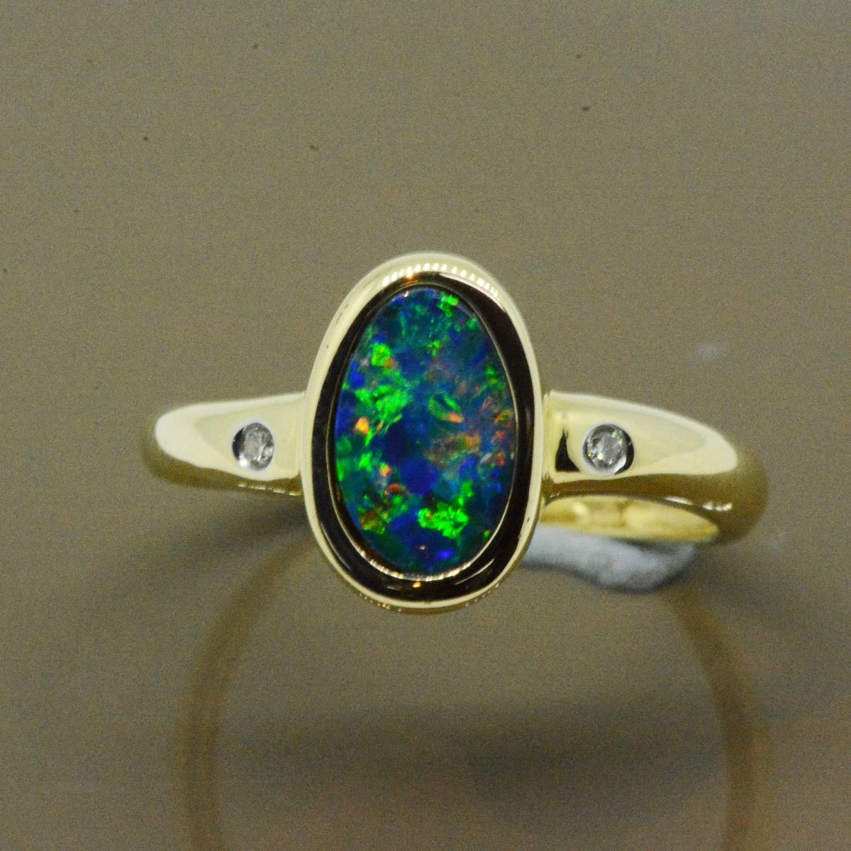 Yellow Gold 14ct Doublet Opal Ring with Melee Diamonds