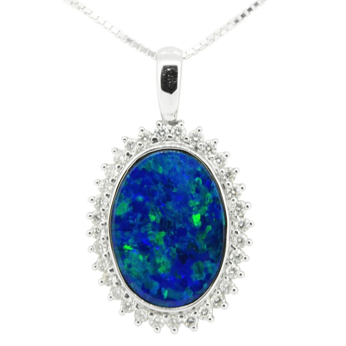 14ct White Gold Doublet Opal Pendant Surrounded By diamonds