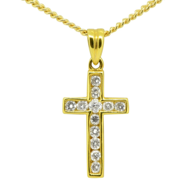 18ct Yellow Gold Diamond Encrusted Cross