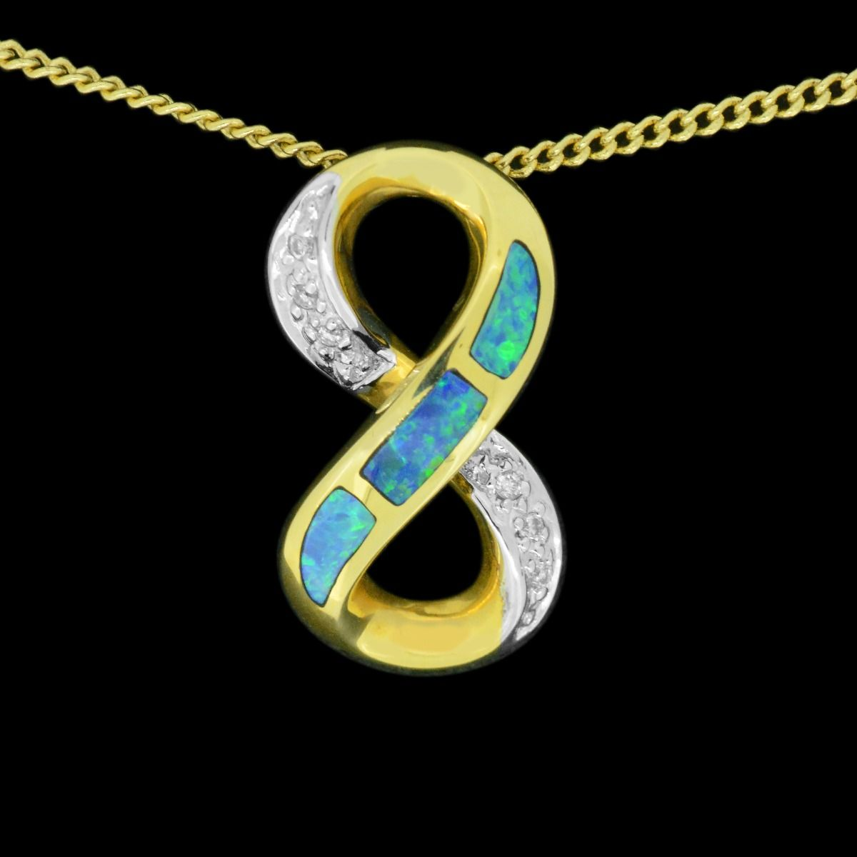 14ct yellow gold inlaid pendant in the shape of a 8