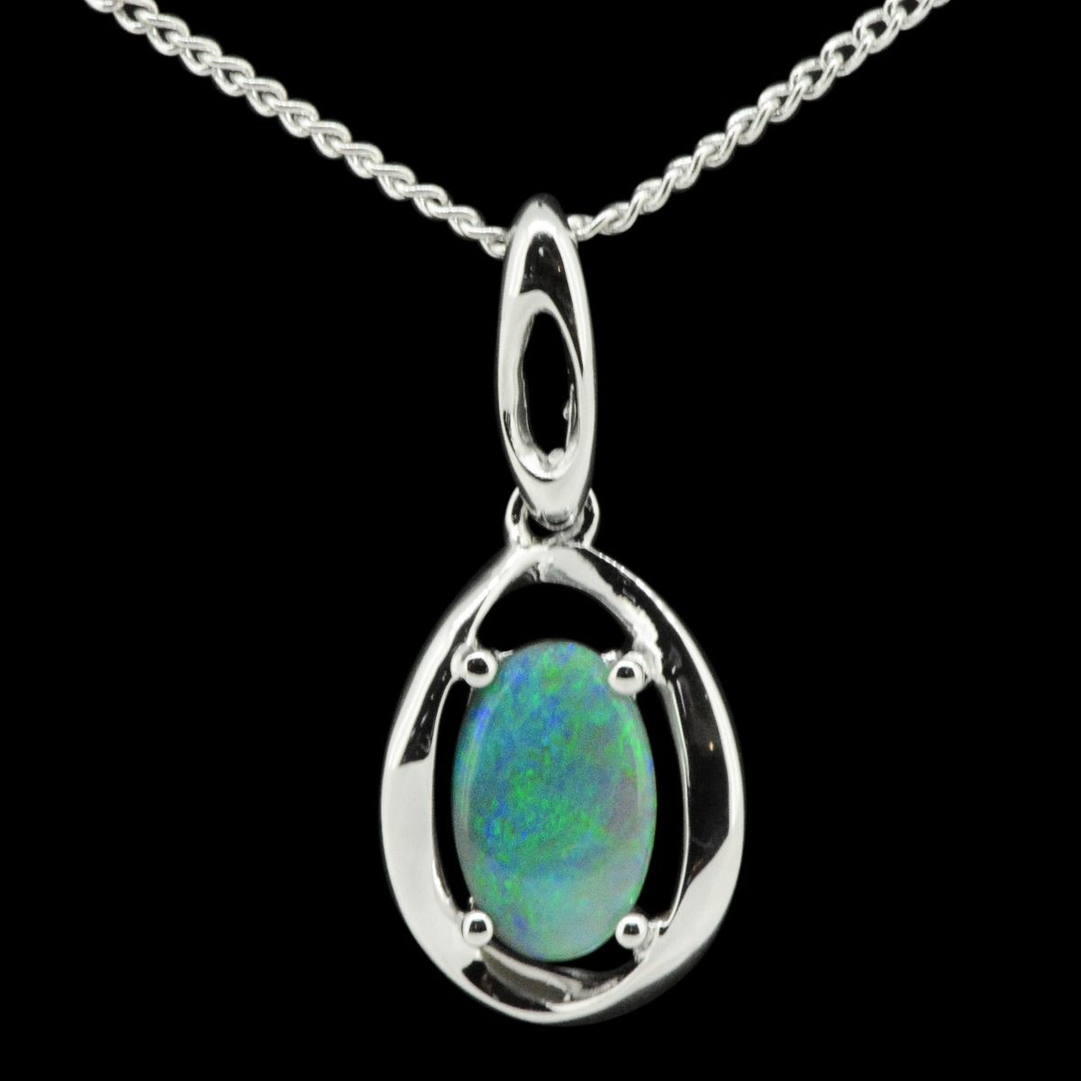 Sterling Silver Solid Black Opal Pendant (9x6)