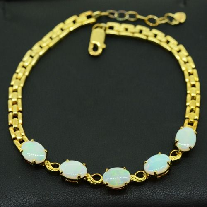 Sterling Silver Gold Plated Solid Opal Bracelet