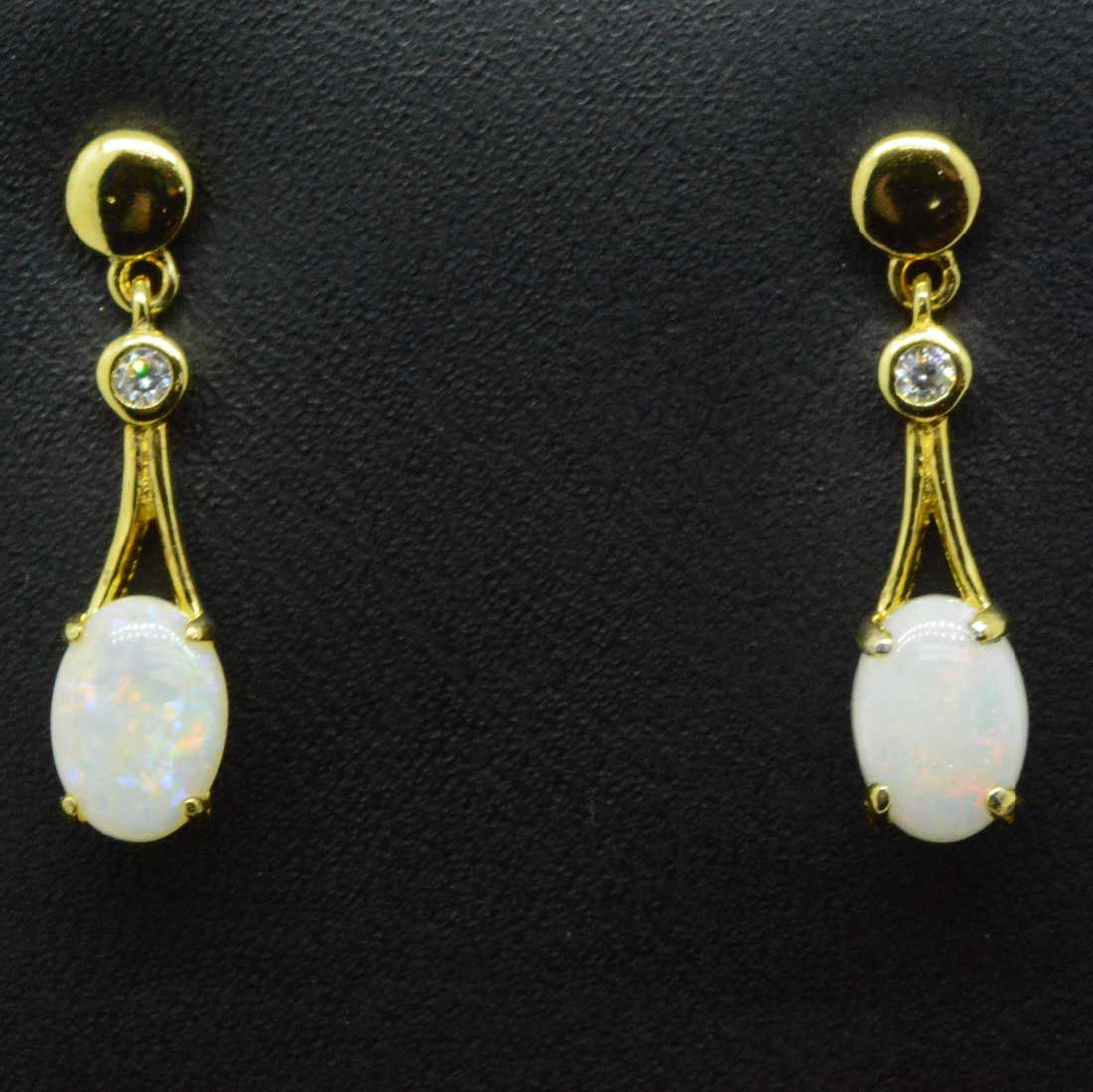 Oval shaped gold plated solid opal earrings