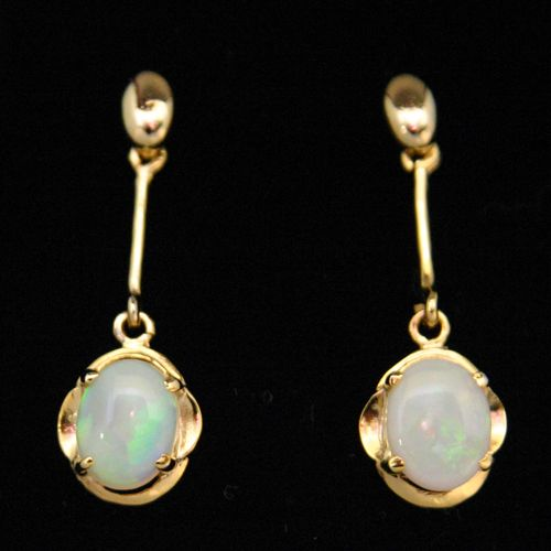 Hanging Gold Plated Sterling Silver Solid Opal Earrings