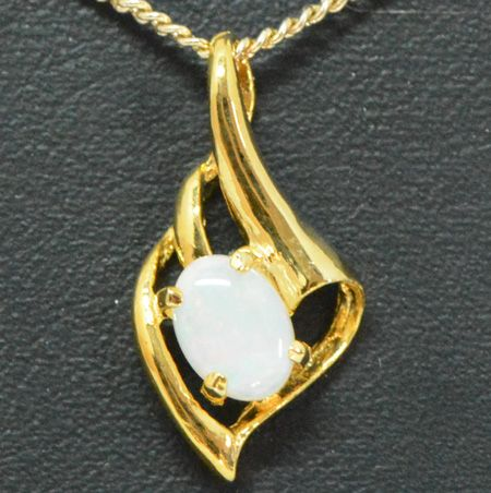 Gold Plated Sterling Silver Claw Set Solid Opal Pendant
