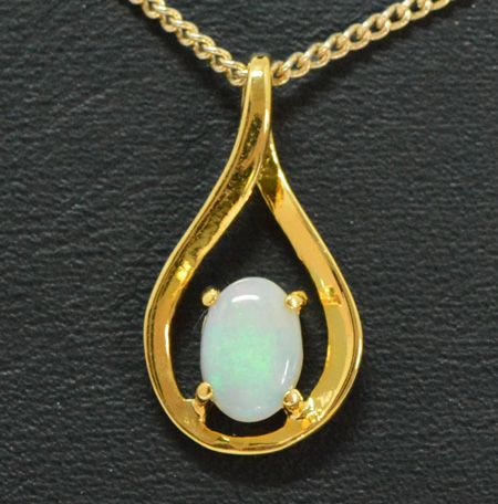 Gold Plated Sterling Silver Solid Opal Pendant