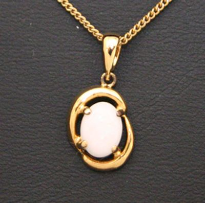 Solid Opal Pendant Set In Gold Plated Sterling Silver