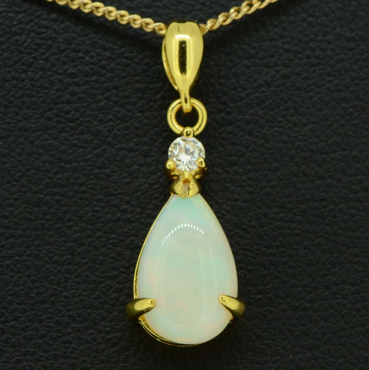 Gold Plated  tear drop solid opal pendant 13mmx9mm