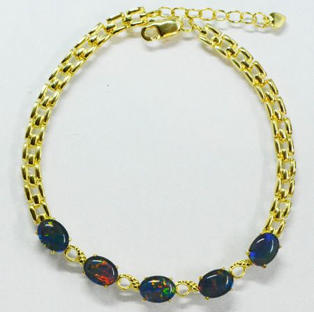Gold Plated Sterling Silver Claw Set Triplet Opal Bracelet