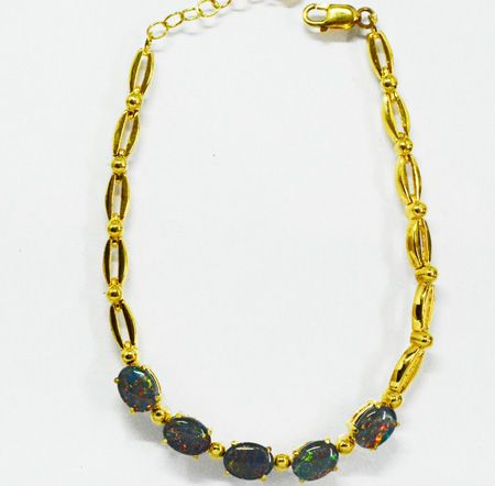 Gold Plated Sterling Silver Triplet Opal Bracelet With 5 Opals