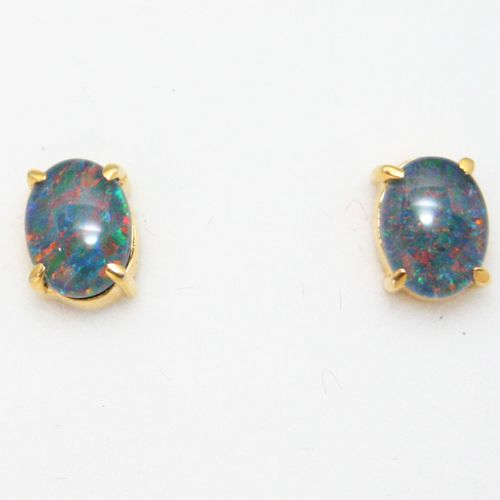 Gold Plated Sterling Silver Claw Set Triplet Opal Earrings