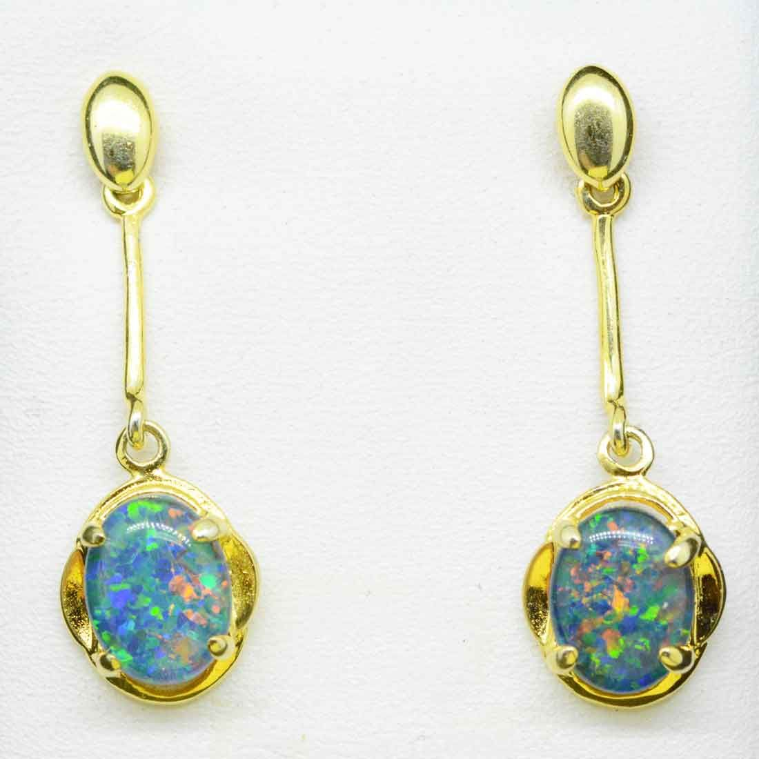 Drop Gold Plated Sterling Silver Claw Set Triplet Opal Earrings