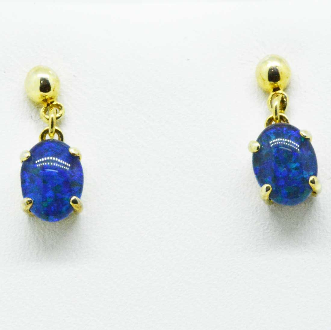 gold plated triplet opal drop earrings