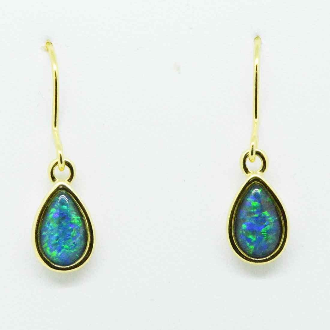 Gold plated tear drop shaped triplet opal earrings  (8mmx5mm)