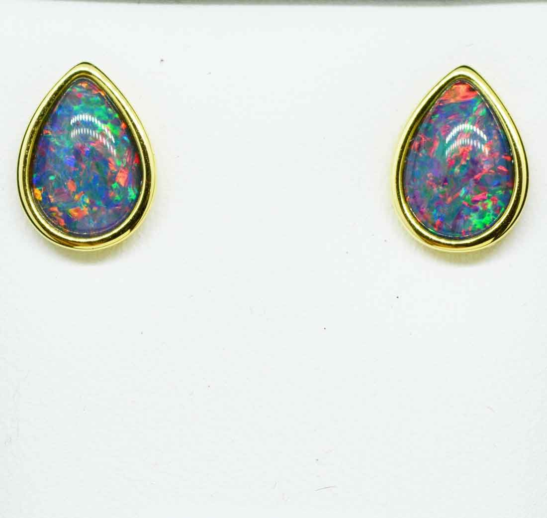 Tear Drop Gold Plated Sterling Silver Triplet Opal Earrings