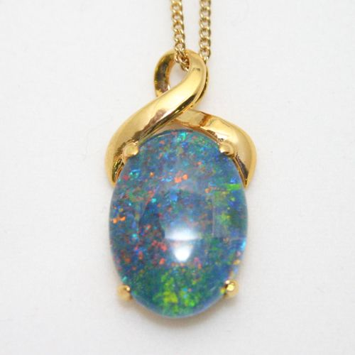 Yellow Gold Plated Sterling Silver Triplet Opal Pendant