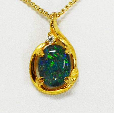 Gold Plated Sterling Silver Triplet Opal Pendant Set With One Cut Crystal