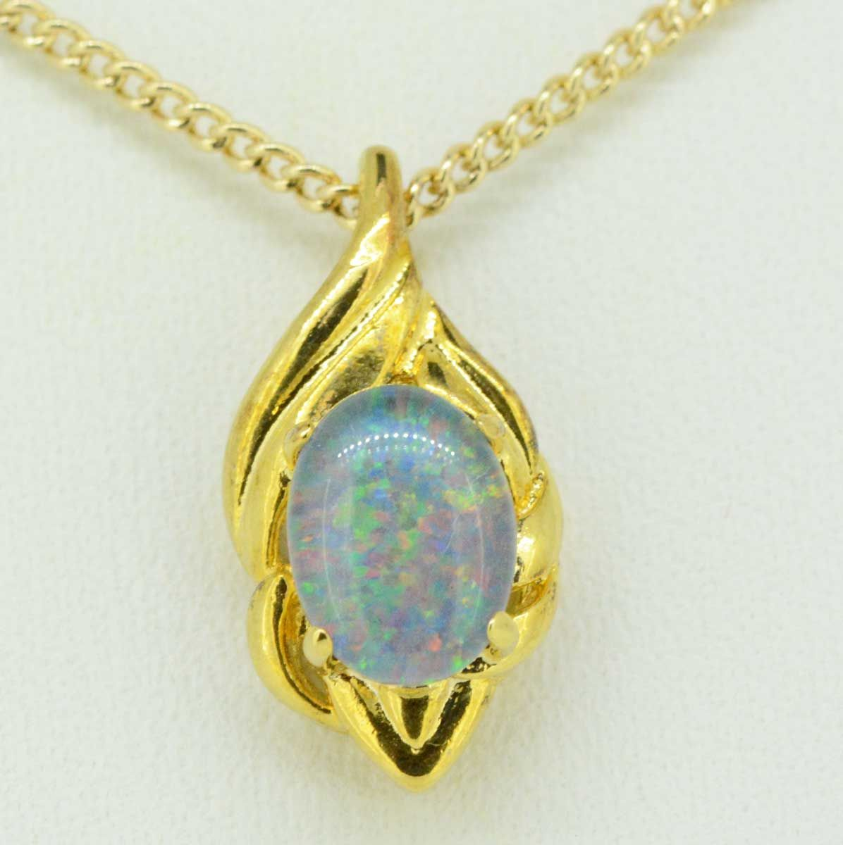 Gold plated triplet opal pendant 8mmx6mm
