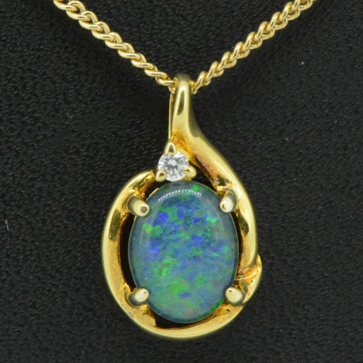 Gold plated sterling silver triplet  opal pendant (9x7)