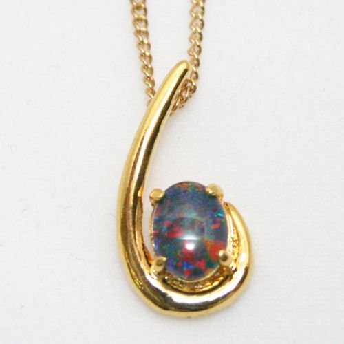 Yellow Gold Plated Sterling Silver Claw Set Triplet Opal Pendant
