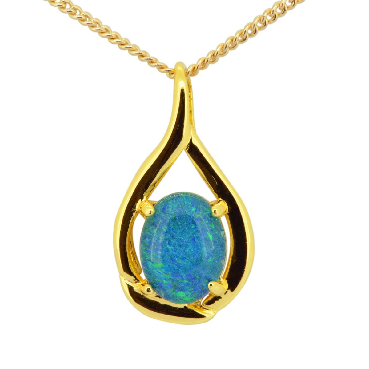 Gold Plated Sterling Silver Triplet Opal Pendant (9mmx7mm)