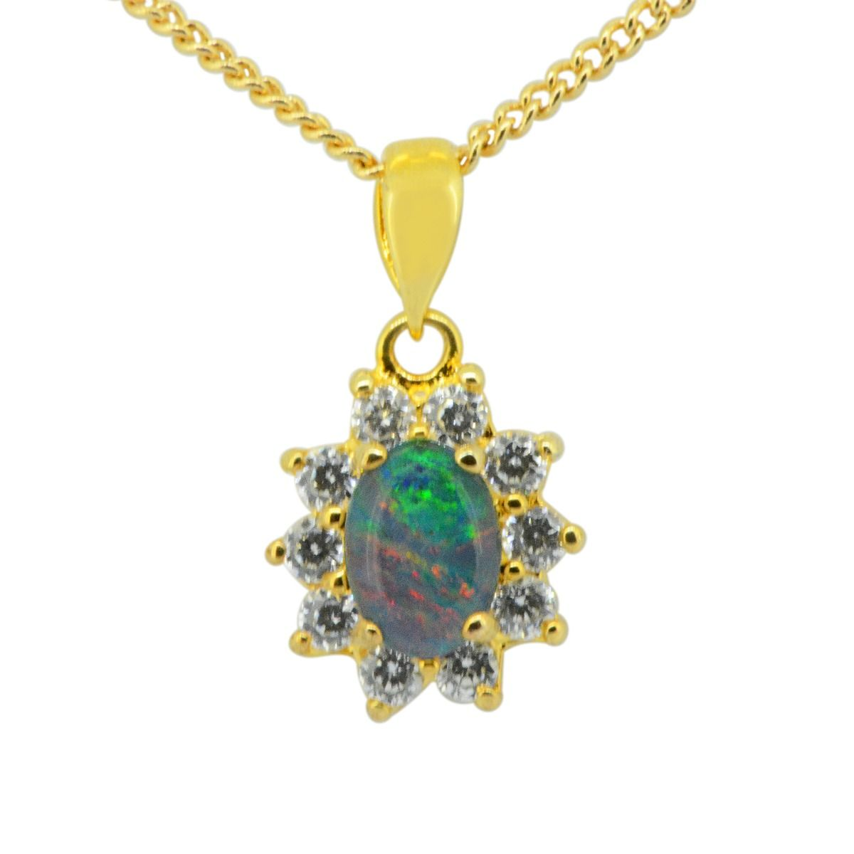 Gold plated sterling silver triplet opal pendant (8x6)