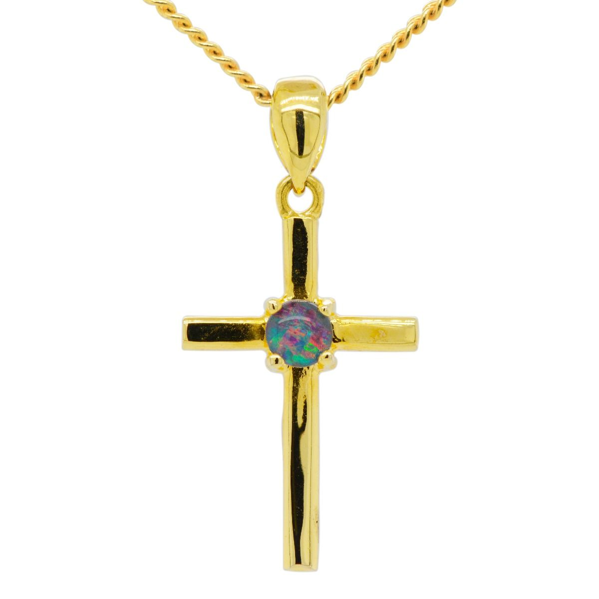 Gold Plated Sterling Silver Triplet Pendant Cross