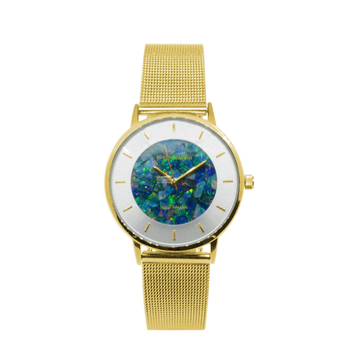 Ladies Yellow Gold Pierre Cardin Opal Face Inlay Watch