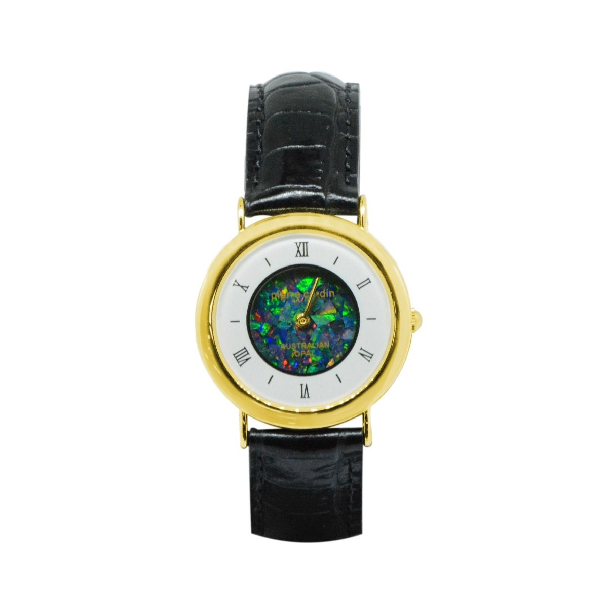 Ladies Yellow Gold Pierre Cardin Opal Face Inlay Watch With Leather Band
