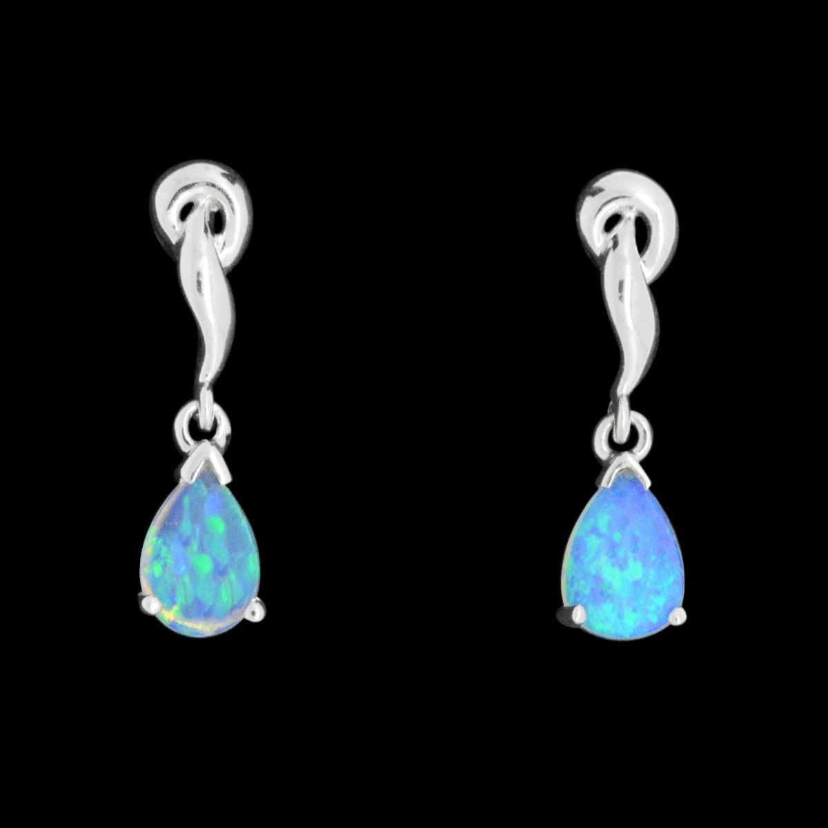 Solid Crystal Opal Earrings Set in White Gold