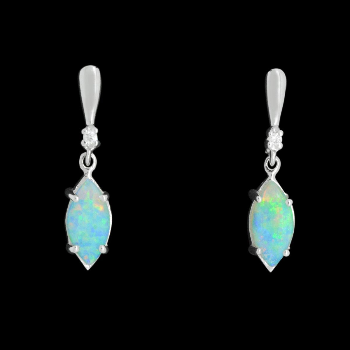 Solid Marquise Cut Crystal Opal Set in Gold