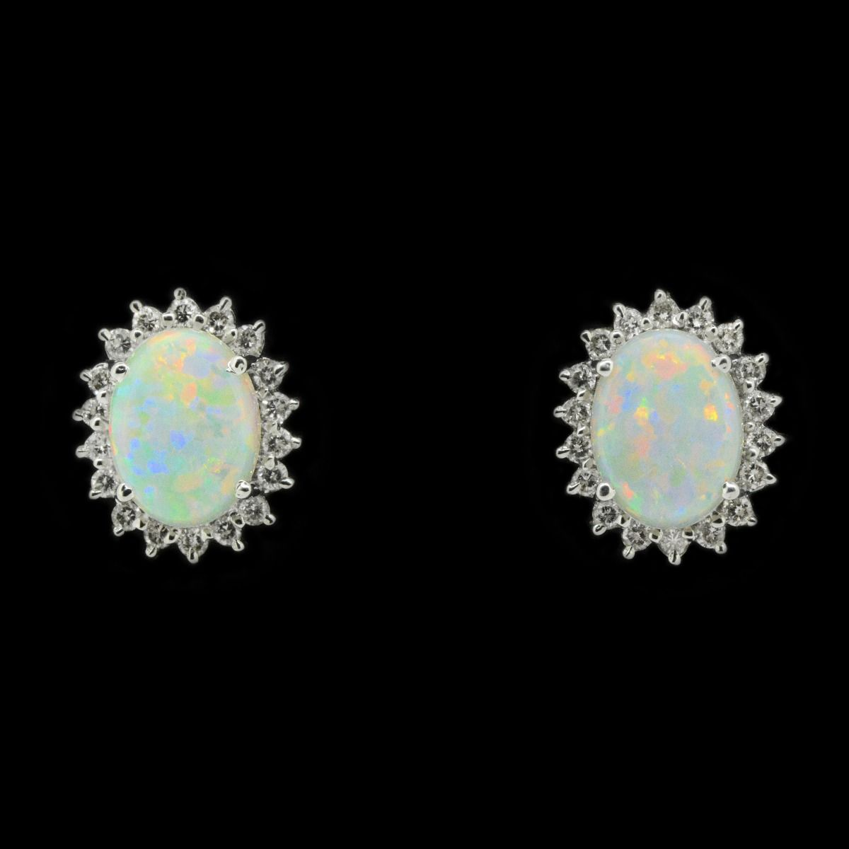 18ct White Gold Solid Opal Crystal Setting Earrings