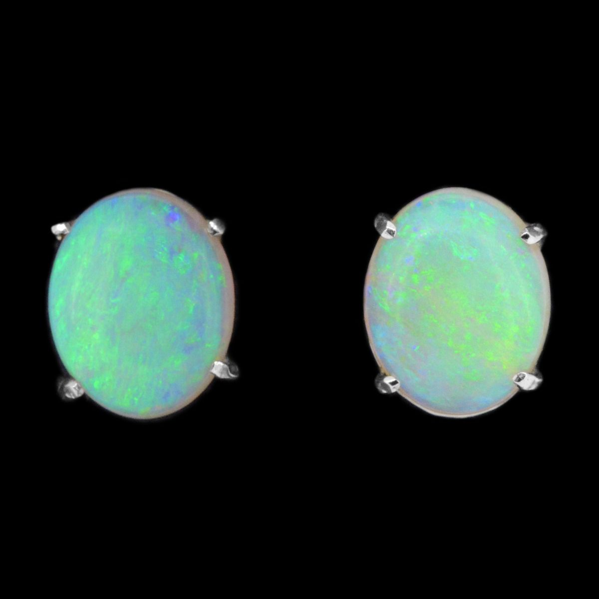 14ct White Gold Solid Crystal Opal Earrings