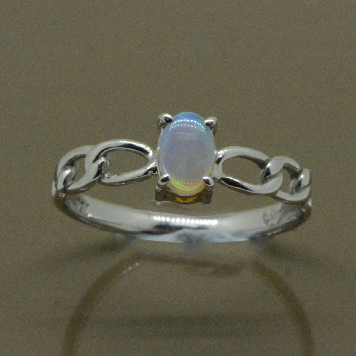 Crystal Opal Ring White Gold
