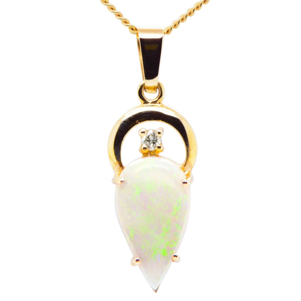 14ct Yellow Gold Solid Opal Pendant